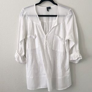 Anthropologie Left of Center White Sheer Tunic Med